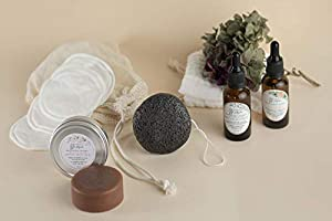 RUTINA FACIAL - Sérum, aceite botánico, jabón facial purificante, bálsamo labial, esponja, muselina, discos...