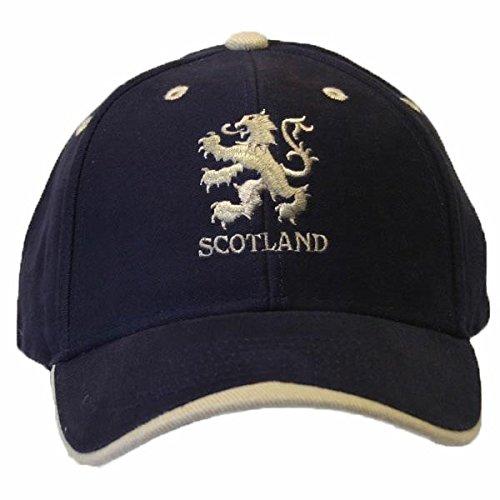 Scotland Casquette de Baseball brodé et Lion écossais - Adulte Unisexe (Taille Unique) (Bleu Marine/Blanc)