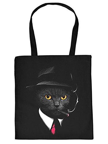 Ausgefallene Stofftasche in schwarz mit creativem Neon Motiv: Agent Cat - Mafia Kater mit Anzug und Zigarre