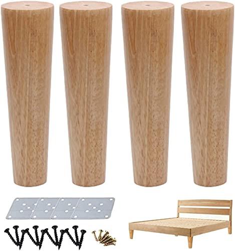 4x Patas de muebles de madera, Pies de gabinete de madera de cono recto de cono de madera, patas de gabinete de repuesto, patas de TV de mesa cónica, para gabinete de silla, con placa de montaje y to