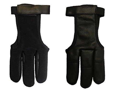 Halona Schießhandschuh, Bogenhandschuh Black.Bulls Stretch und Leder schwarz (L)