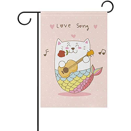 Hao-shop Kat Zeemeermin Gitaar Liefde Liedje Tuin Vlag Banner Decoratie voor Thuis Binnenplaats Yard Outdoor Decor