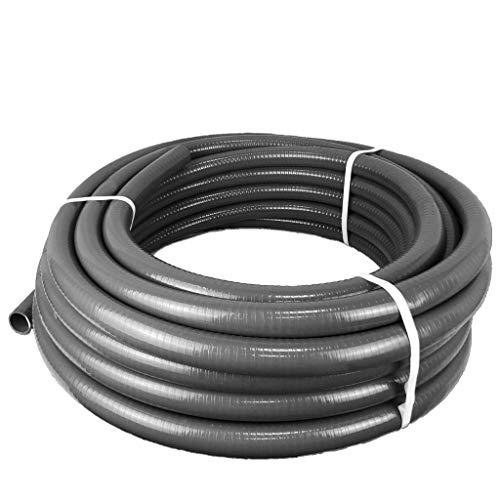 well2wellness® PVC Flexschlauch 40mm / PVC Klebeschlauch 40mm für Pool + Teich, 15m Rolle