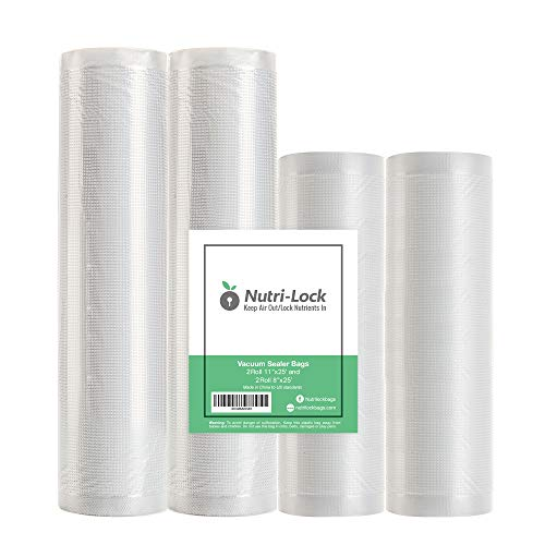 """Nutri-Lock Vacuum Sealer Bags. 4 Rolls 11""""x25' and 8""""x25' Commercial Grade Bag Rolls. Works with FoodSaver and Sous Vide. Fits Inside Sealer Machine."""
