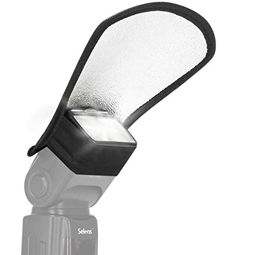 2 in 1 | Blitz Reflektor/Diffusor in Weiß & Silber | Für alle gängigen Aufsteckblitze Dank Gummi | Geeignet für Canon/Nikon/Sony (Rollei 58 Speedlite SB-600 SB-800 SB-900 380EX 430EX 550EX 580EX