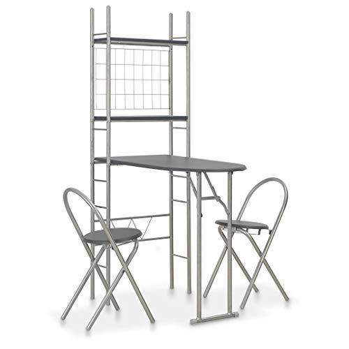 UnfadeMemory 3-TLG. Klappbare Essgruppe mit Ablagefach Bartisch Set Esstisch mit 2 Barhocker MDF und Stahl Ausklappbar Platzsparend Frühstückstheke (Schwarz)