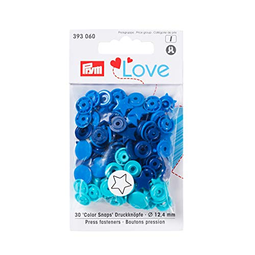 Prym 393060 Sternform Color snaps Prym Love Druckknopf Color KST 12,4mm blau/türkis/marine
