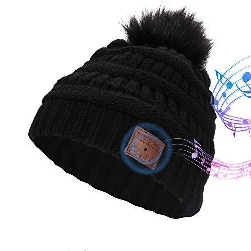 LINGSFIRE Gorro de punto con Bluetooth, para mujer, con gorro de punto de invierno, inalámbrico, desmontable con pompón de Bobble, gorra de Bluetooth, lavable, apto para deportes al aire libre, correr