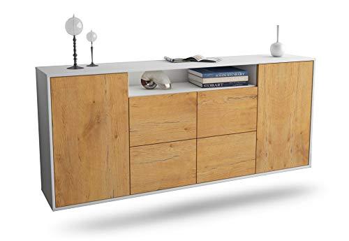 Dekati Sideboard Carrollton hängend (180x77x35cm) Korpus Weiss matt   Front Holz-Design Eiche   Push-to-Open