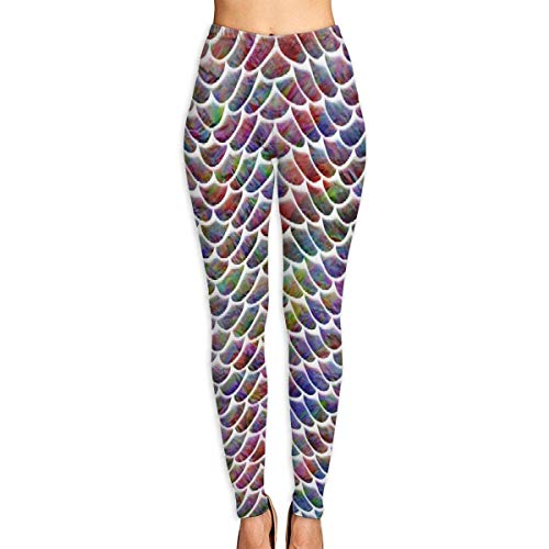 VAICR NCRSPIC Strumpfhosen Hosen,Personalized Mermaid Scales Fish Women's Printed Leggings Pants For Sports Yoga Workout Gym Running