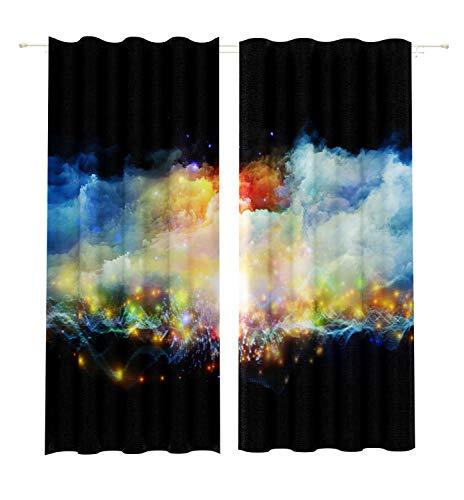 Lemare Rideau occultant impression numérique 2 x 145 x 260 cm Rideaux occultants Motif abstrait Couleur : noir