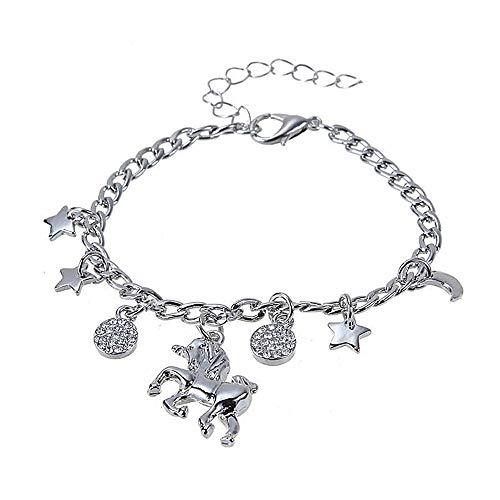 KIRALOVE Pulsera - Unicornio - Colgantes - Estrella - Pulsera - niña - Idea de Regalo - amuletos - Color Plata - Mujer - Caballo Alado - Pegaso