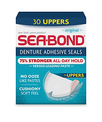 Sea Bond Secure Denture Adhesive Seals, Original Uppers, Zinc Free, All Day Hold, Mess Free, 30 Count