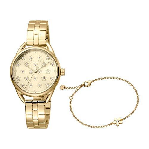 ESPRIT Uhr und Armband Debi Flowers S für Damen aus vergoldetem Edelstahl