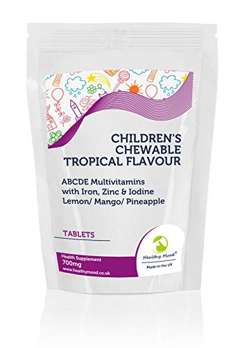 Children's Chewable Tropical Flavour ABCDE Multivitamin Tablets with Iron, Zinc & Iodine Lemon/Mango/Pineapple 700mg - UK - Pack of 180 Pills