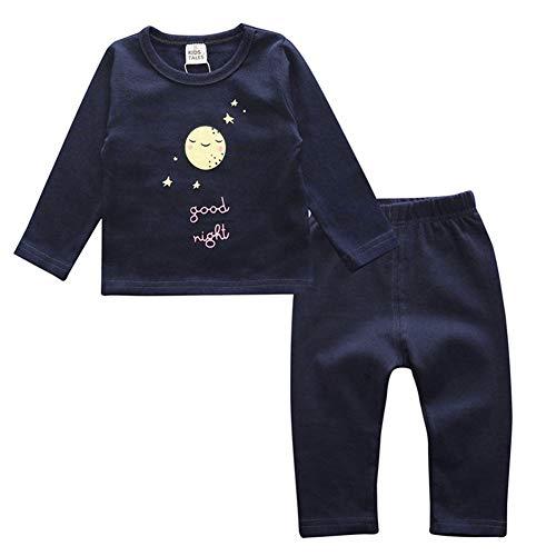 ALLAIBB Autumne Hiver Costume en Coton pour Enfants Filles Garçons Pyjamas Set Vêtements de Nuit Size M (Good Night)