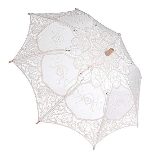 Omabeta Bridal Lace Umbrella Baumwolltuch Wedding Lace Umbrella ausgezeichnete Verarbeitung Lace Parasol Dame im Freien für zu Hause(Milky White, Large)