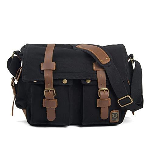 Canvas Leather Men Messenger Bags Big Satchel Shoulder Bags Male Laptop Briefcase Travel Handbag (Color : Black)