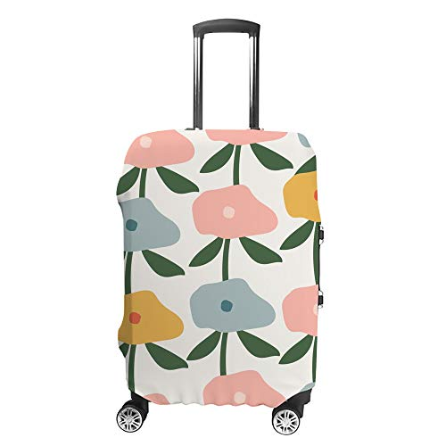 CHEHONG Suitcase Cover Luggage Cover Pink Yellow Blue Flowers Travel Trolley Case Protective Washable Polyester Fiber Elastic Dustproof Fits 18-20 Inch