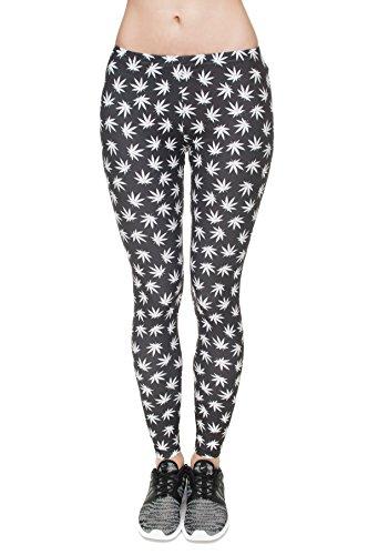Mujer Pantalones elásticos Full Print Tight Stretchy Sports Pants Leggings Marihuana negro Marijuana Black [027]