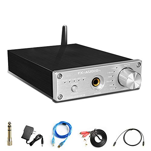 Wireless Bluetooth 5.0 DAC Converter&Headphone Amplifier-192kHz HiFi Stereo Optical/PC-USB/Coaxial/BT to RCA 6.35mm Headphone Digital to Analog Converter for Home Audio with Volume Control(Silvery)