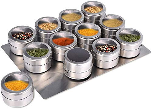 12 Piece Magnetic Spice Tins   Stainless Steel   Magnetic Spice Jars with Tray   With Pour Holes for Easy Seasoning