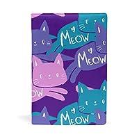 SoreSore(ソレソレ) ブックカバー a5 ねこ 猫柄 パープル かわいい 可愛い 皮革 レザー 文庫本 ノートカバー メモ 手帳カバー 革 A5 かわいい おしゃれ