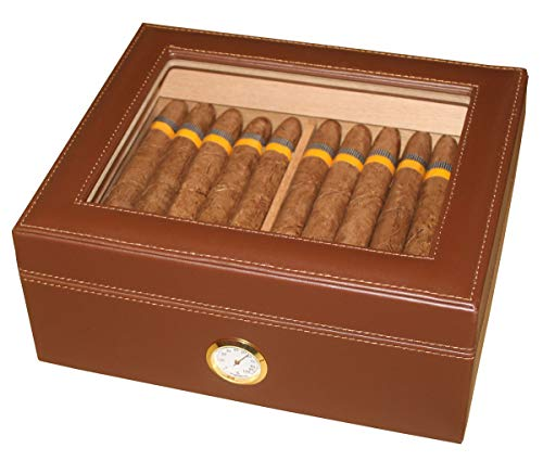 AMANCY Quality Brown Leather Handmade 25-50 Cigar Humidor ,Desktop Cedar Wood...