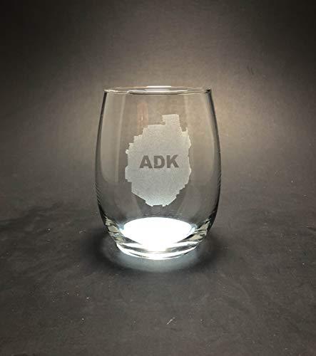 Taza de vino DKISEE Adirondack Park - Copa de vino grabada sin tallo para celebración, regalo único de cumpleaños para mamá, abuela, papá, abuelo, vidrio, Un color, 311,84 g