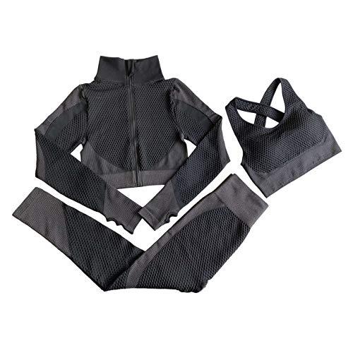 FML Seamless Yoga Sets 3 Piece Set Fitness Long Sleeves Zipper Top Padded Bra High Waist Leggings Gym Set Women Workout Clothes
