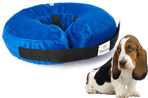 Inflatable Dog Collar, Recovery Cone, After Pet Surgery, Prevent Dogs from Biting & Scratching, Adjustable Thick Strap, Soft Comfortable Donut...