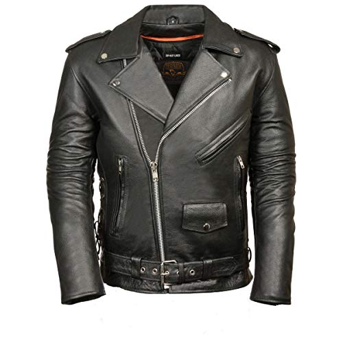 Milwaukee Leather Men's Classic Side Lace Police Style Motorcycle Jacket