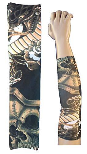 KIRALOVE Manga del Tatuaje - Manga - Tatuaje Falso - Esqueleto - cráneo - Muerte - dragón - Reptil - Serpiente - Rosas - Tatoo - Media Manga - Tribal - Idea de Regalo Original - w98 - ts93
