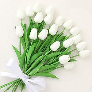 Silk Flower Arrangements Cloudecor 20Pcs Artificial Tulips Real Touch Artificial Flowers Fake Tulip Latex Bouquet Flower for Wedding Party Home Garden Office DIY Floral Arrangement Decor (White - 20p)
