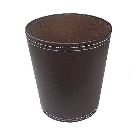 KINGFOM™ Klassisch Leder Papierkorb für Büro/Badezimmer/küche/Schlafzimmer (Braun)