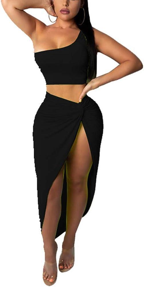 OLUOLIN Womens Sexy One Shoulder Crop Top Bodycon Cross Side Split Irregular Maxi Skirt Set 2 Piece Dress Outfits