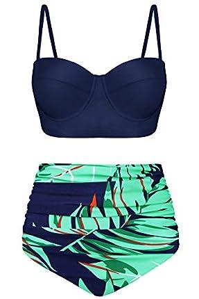 Angerella Vintage Halter Black Top High Waist Ruched Leave Print Bottom Bikini Set