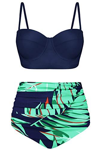 Angerella Damski zestaw bikini w stylu retro vintage z fiszbinami z wysokim stanem