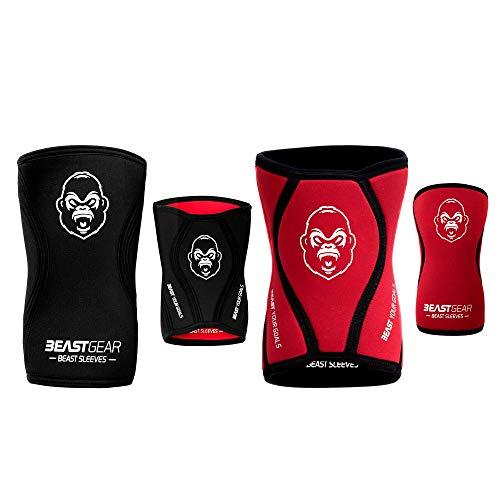 Beast Gear Beast Sleeves - Premium 5mm Neopren Kompression Knie-Bandagen für mehr Unterstützung & Schutz der Knie. Kraftsport, Gewichtheben, Crossfit, Powerlifting, Kniebeugen, Laufen und mehr (Med)
