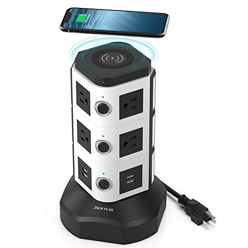 Power Strip Tower with Wireless Charger JACKYLED Surge Protector Electric Outlet 13A 10 AC Outlets and 4 USB Ports 6.5ft Extension Cord for Office Home Desktop Computer White and Black