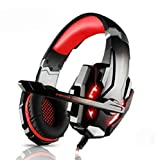 Ninja Dragon G9300 Stereo Gaming Headset for PC Or Console, Noise Cancelling Over Ear Headphones with Mic, LED Light, Bass Surround, Soft Memory Earmuffs
