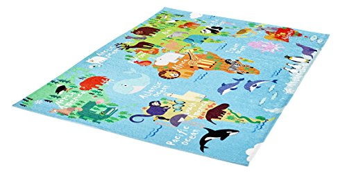 Obsession Teppiche, Polyester Chenille, World Map, 120 x 170 cm