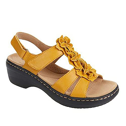 ZLZNX Sandalias Mujer Chanclas Tacon de Cuña Plataforma del Verano Cómodos bierta Sandalias Moda Zapatos Tacon para Caminar,Amarillo,42CN