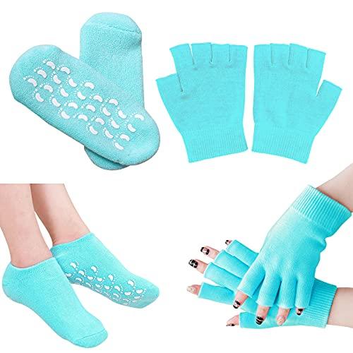 Gel Socken Damen mit Elastischem Anti-Rutsch-Baumwollgel Hand-Spa Feuchtigkeitsspendende Handschuhe Blau 1 Paar Socken + 1 Paar Handschuhe (EU-Größe 35-43,5)