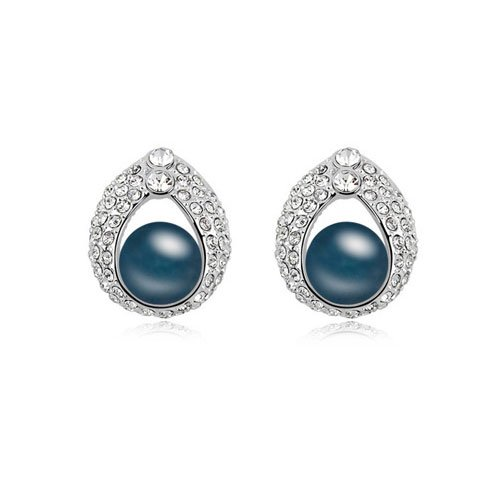 Orecchini Idin–perla con cristalli Swarovski blu a forma di goccia, placcato oro
