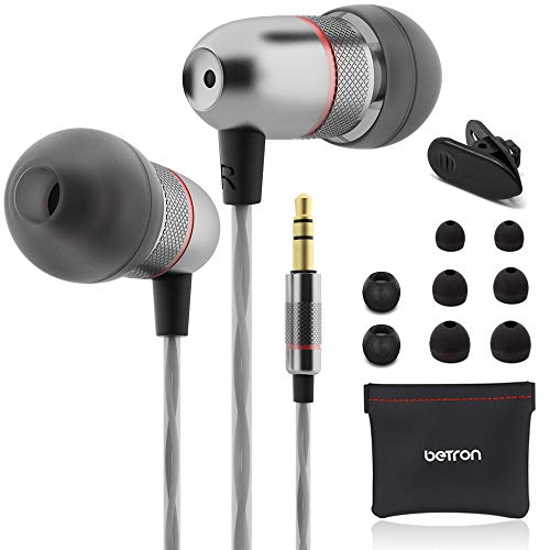 Betron ELR50 Noise Isolating Earphones, in Ear Earbud Headphones with Carry Case, Enhanced Bass Sound with 3 Different Sized Earbuds, Compatible with iPhone, iPad, Samsung and Mp3 Players, Black