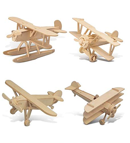 Puzzled Bundle of Airplanes: Water Plane, Spirit of St. Louis, Nieuport 17, & Tri-Plane Wooden 3D Puzzles Construction Kits, Educational DIY Aircraft Toys Assemble Models Wood Craft Hobby - 4 Pack