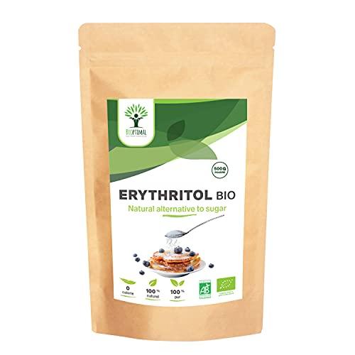 Erythritol Bio - Bioptimal - Zéro Sucre Zéro Calorie - Poudre d'Erythritol - Fort Pouvoir Sucrant - Alternative Naturelle - Pâtisserie Boisson Chaude - Conditionné en France - Certifié Ecocert - 500g