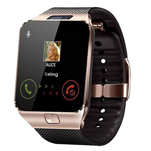 Reloj inteligente con soporte de reloj inteligente TF SIM cámara hombres mujeres deporte Bluetooth reloj de pulsera para teléfono Android (color oro)