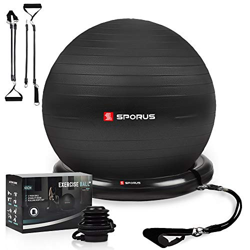 Sporus Gymnastikball Stuhl System, Anti-Burst Fitnessball (65 cm) mit Ballschale und Widerstandsbändern, inkl. Schnellpumpe und Übungen-Poster; belastbar bis 900 kg - Schwarz